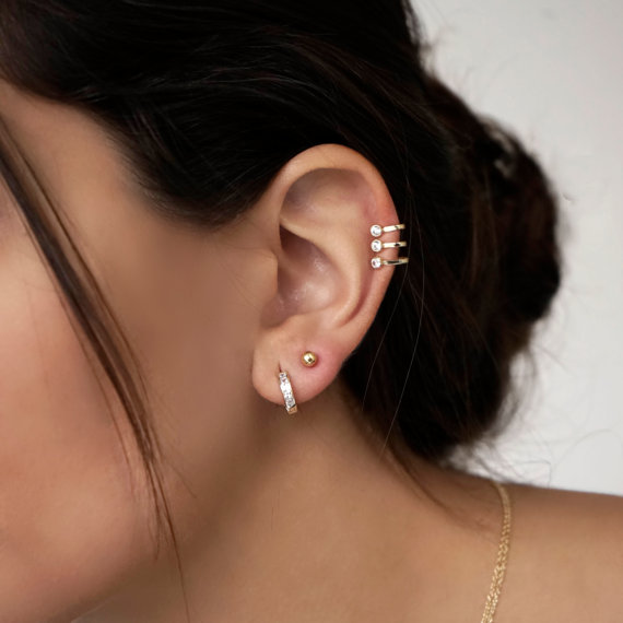 fashion women jewelry three stone no piercing ear cuff 925 sterling silver simple gold color earring
