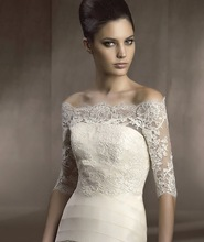 Real Pictures  3/4 Sleeve Lace Off -Shoulder  Wedding Jacket Wedding Wraps