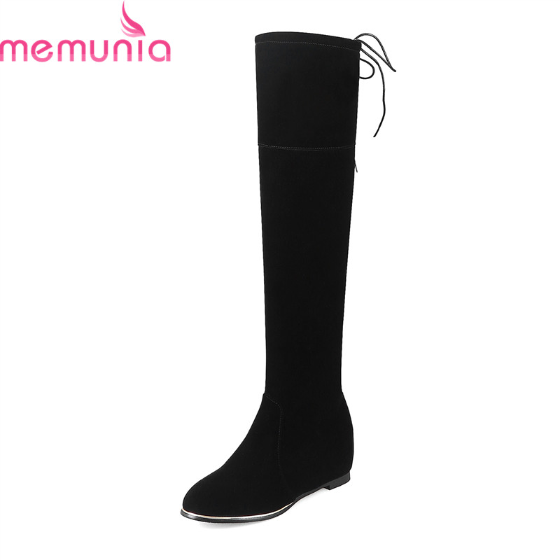 MEMUNIA 2018 new arrival knee high boots red black round toe flock 5cm high heels boots with narrow band women casual shoes