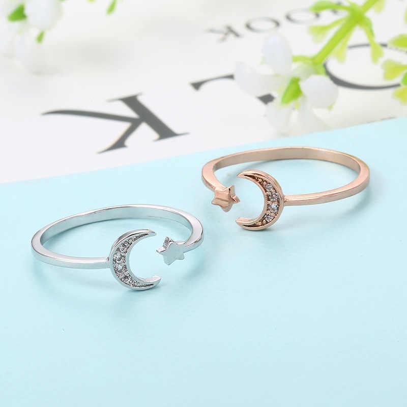 MIGGA Rose/or blanc couleur Mini étoile mignon lune anneau ouvert pour les femmes cubique zircone cristal Bague bijoux