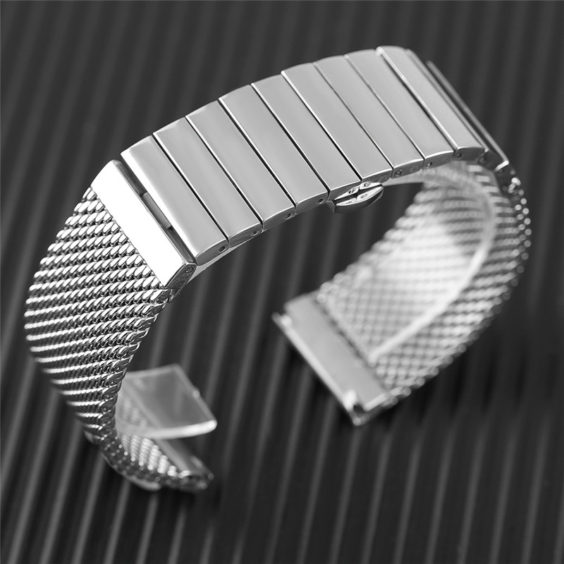 18mm 20mm 22mm 24mm Trendy Mesh Band Hidden Clasp Stainless Steel Wristwatch Strap Replacement For Men Watches Solid Link Bangle