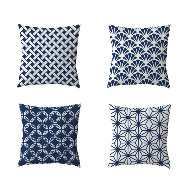 Hot Sale Cushion Cover 45x45cm Geometric Rectangular Flower Fan Blue Bedroom Sofa Gift Decor Polyester Peach Skin Pillow Cases