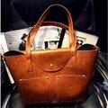 Fashion Picture Package Vintage Oil Skin Weekender Bag for Women Big Bags One Shoulder Designer Handbag Cross-body Bags