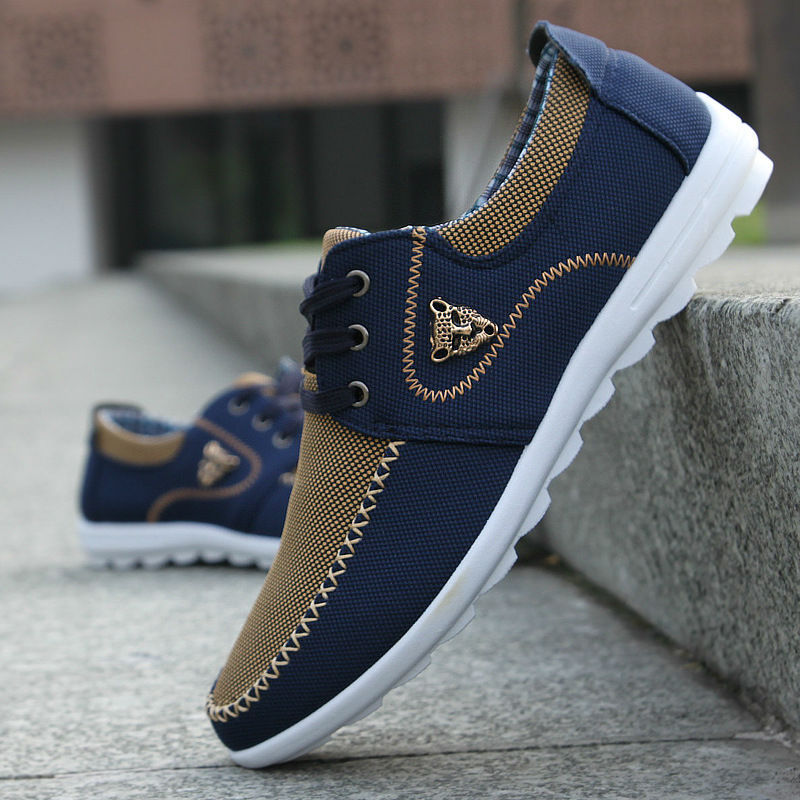 2018 New Brand Canvas Casual Men Shoes British Loafers Flats Mens