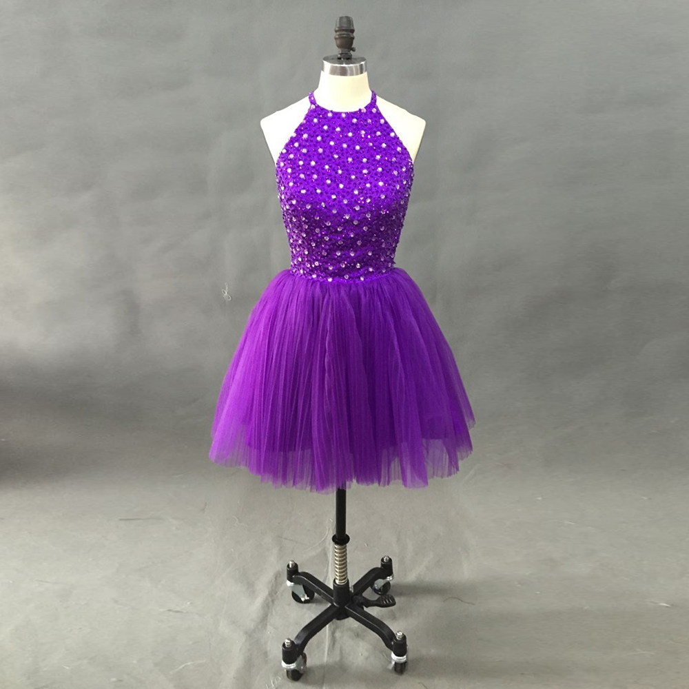 100% REAL PICS New Arrival 2016 Elegant Beaded Purple Short  Prom Dresses Party Gowns Dresses 2016 Special Occasion Dresses
