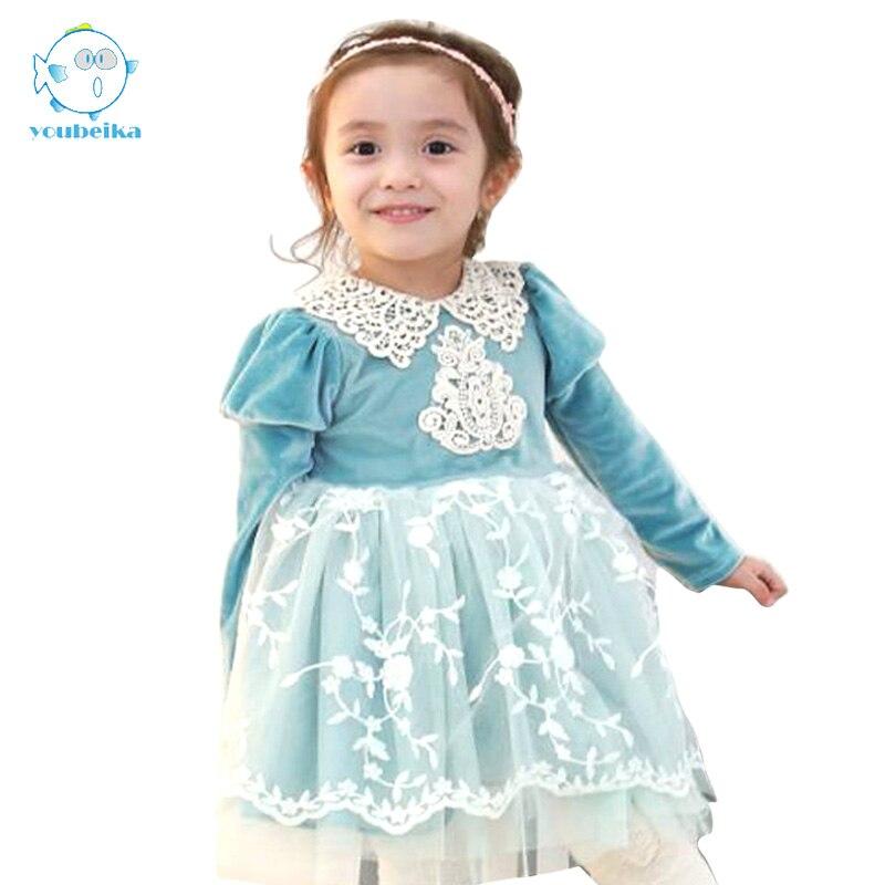 Spring Autumn 2017 Kids Dresses For Girls Long Sleeve Cotton Dress Girls Cute Korean Puff Sleeve Turn-down Collar Clothing 2018 spring new korean girls cotton dot