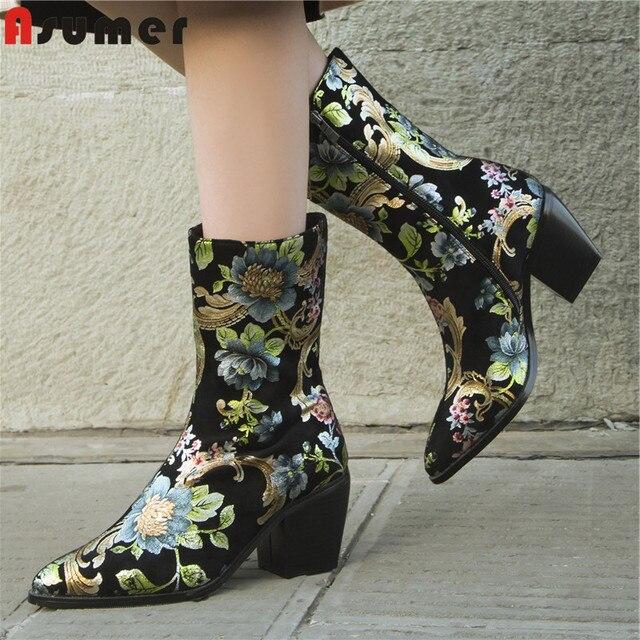 ASUMER Plus size 34-44 Mới của phụ nữ Giày mũi nhọn dây kéo mùa đông ấm Ủng in hình mắt cá chân giày nữ