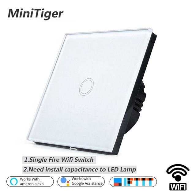Minitiger EU/UK WIFI Interruptor táctil inteligente APP interruptor remoto inalámbrico pared interruptor cristal Panel funciona con Alexa /Google