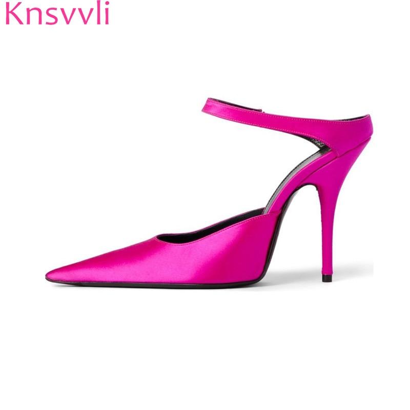 d47cfad0590 Knsvvli rose red satin high heel slippers women pointy toe slip on sexy  women shoes black sheepskin women mules heels fashion