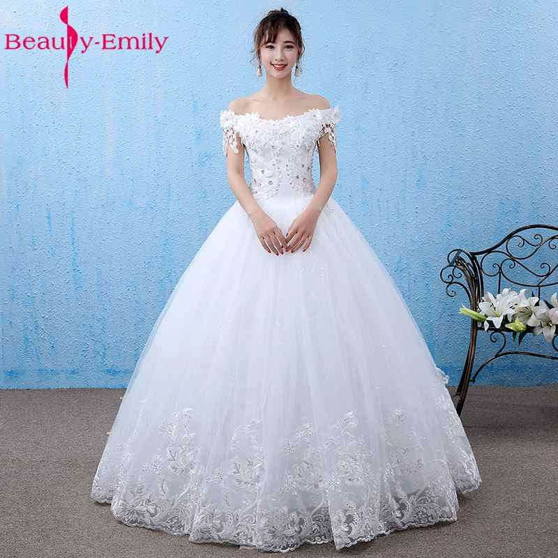 Beauty Emily White Wedding Dresses 2017 Boat Neck vestido de casamento Off  the Shoulder Lace Up 32324ea65954