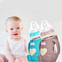 Cartoon Newborn Baby Bottle Shatter resistant Anti bloating Handle Baby Feeding Glass Bottle Children 7 styles Drinking Bottle