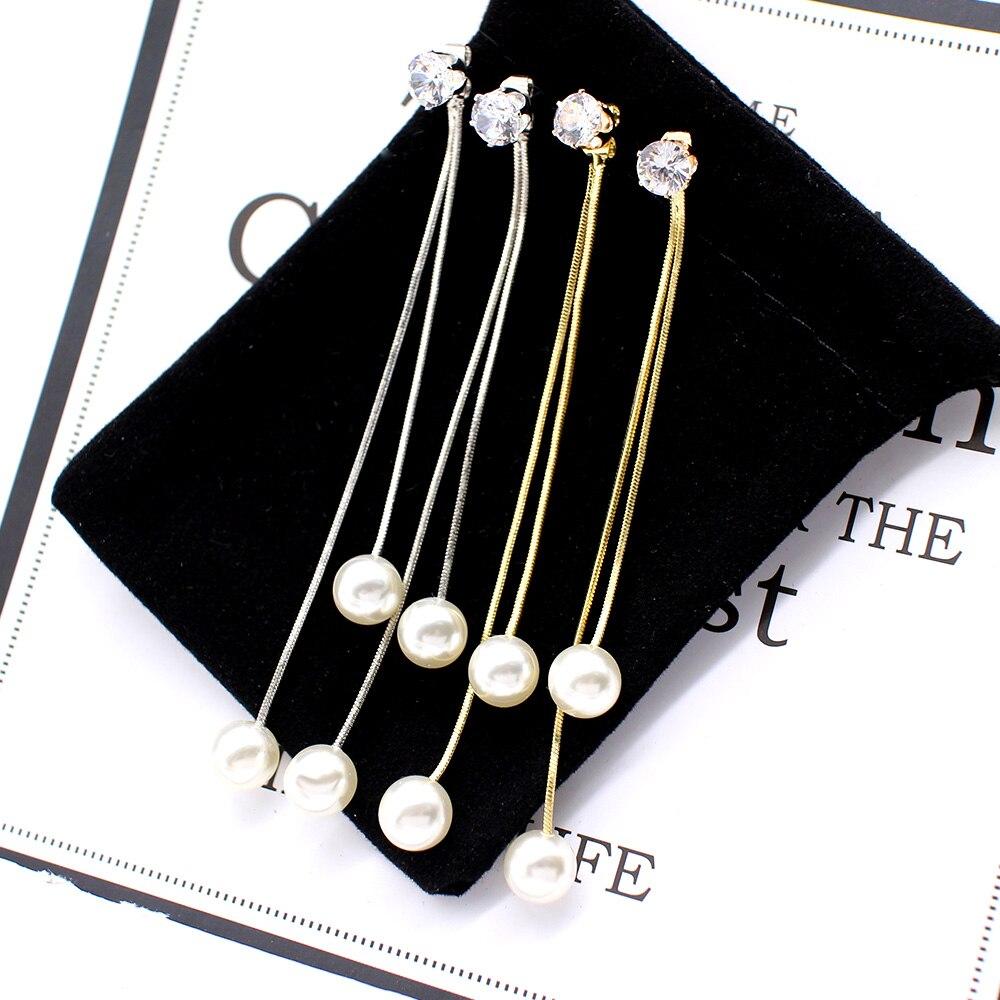Fashion Long Tassel Simulated Pearl Drop Earrings for women girl Rhinestone exquisite Snake Chain Pendant Earring Brincos Bijoux 2