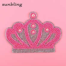wholesale DIY patches fuchsia colored beads crown design iron-on T-shirt handmade hotfix rhinestone DMC Class patch