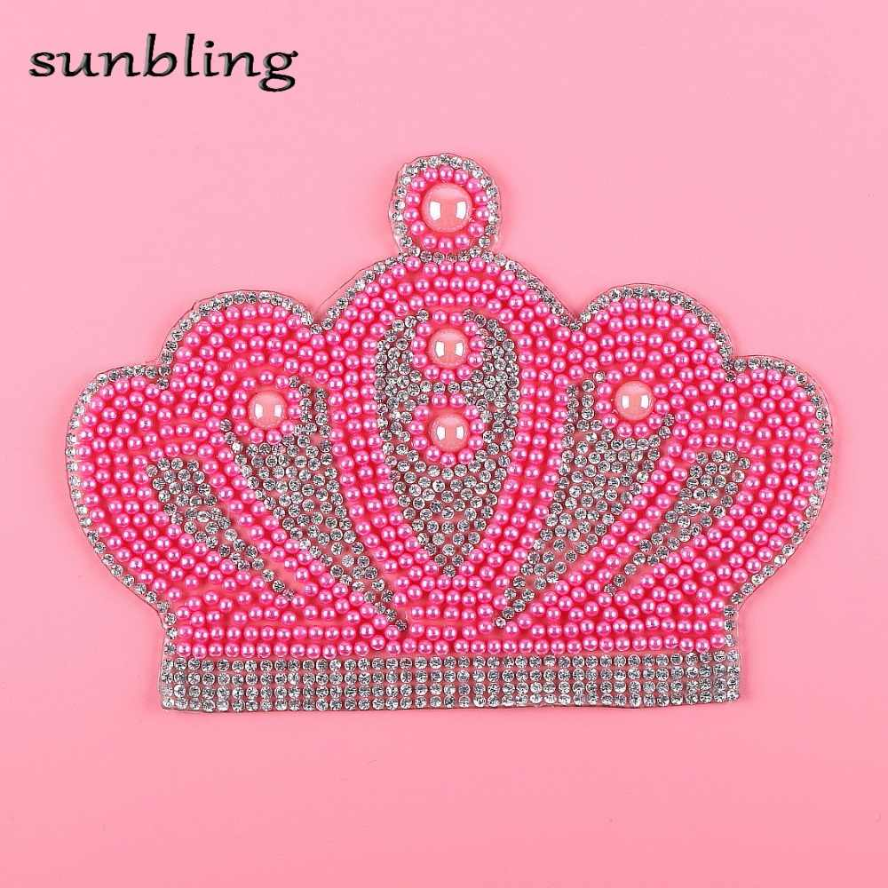 wholesale DIY patches fuchsia colored beads crown design iron-on T-shirt  handmade hotfix 090d675ddda4