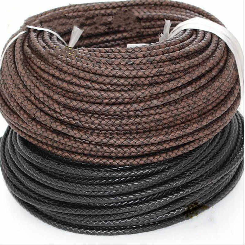 1Meter Muilt Color 6mm Round Genuine Braided Leather Jewelry Cord Cow leather Rope DIY Fashion Necklace Bracelet Findings
