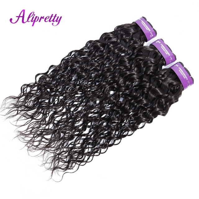 Malasia paquetes de armadura del pelo humano de la onda de agua ofertas Paquete de 3 piezas 8-28 pulgadas no Remy pelo que teje Alipretty cabello sano final