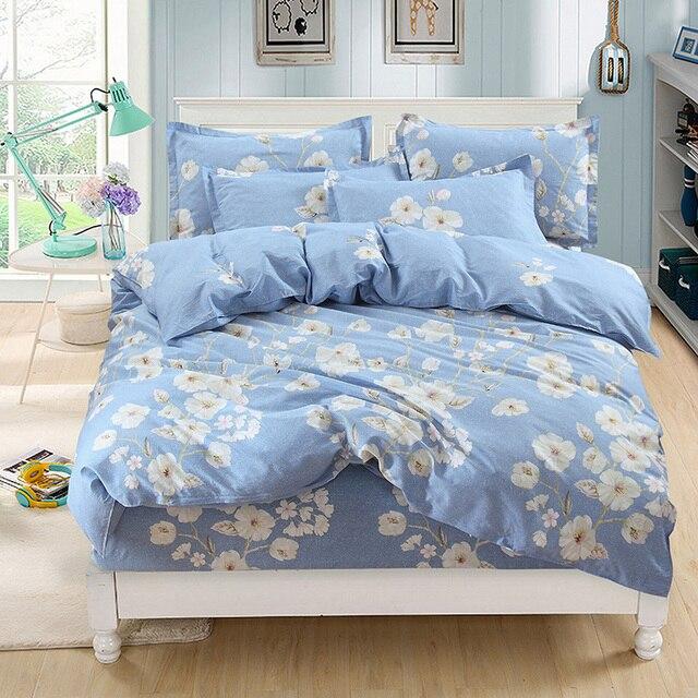 Blue white flower 3d cotton bedding set of duvet cover set bed blue white flower 3d cotton bedding set of duvet cover set bed fitted sheet pillowcase bed mightylinksfo