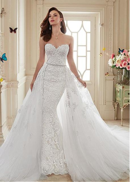 Lace appliques beaded wedding dresses
