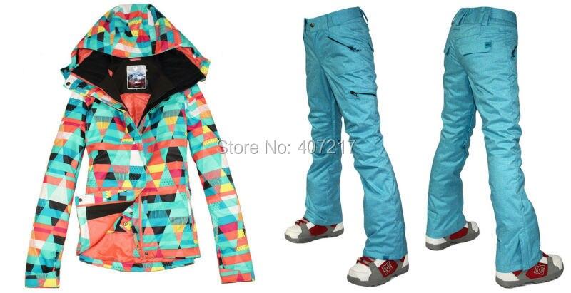 Prix pour 2016 hot femmes mesdames combinaison de ski snowboard vêtements de ski coloré figure géométrique veste et pantalon bleu étanche XS-L