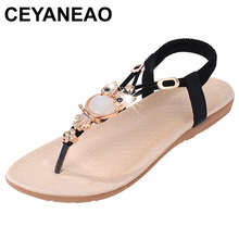 CEYANEAO Fashion sandals for women; Summer shoes with a flat