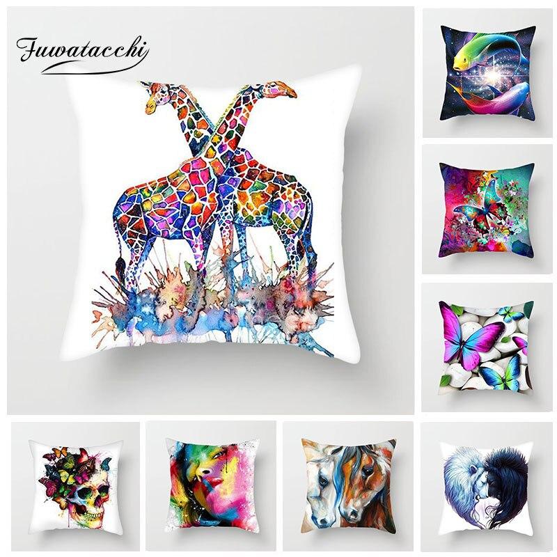 Fuwatacchi coloré peinture housse de coussin papillon forêt cheval girafe taie d'oreiller décor taie d'oreiller pour voiture maison chambre
