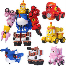 Creative cute animal Robot Larva figures Assembly toys transformation robot mecha Car action figure Birthday Gift For Children(China)