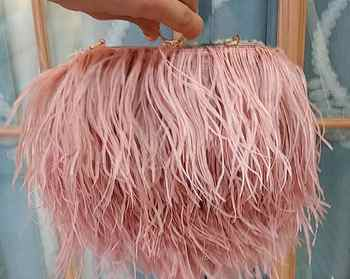 Designer Satin Ostrich Fur Feather Clutch Women Clutch Knuckle Rings Dinner Evening Bag Chain Purse Handbag