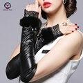 2016 новые Моды для женщин длинные перчатки кружева кролика волосы без пальцев весна осень зима овчины кожаные перчатки леди бесплатная доставка