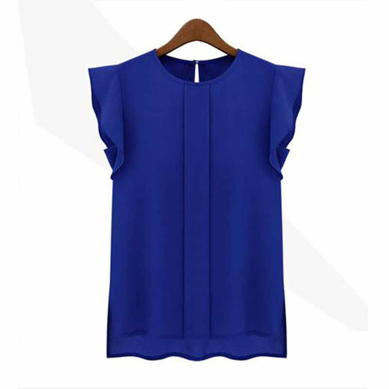 fashion woman blouses 2018 solid womens tops and blouses Chiffon Shirts OL Lady Round Collar Sleeveless Ruffles Tops Plus Size