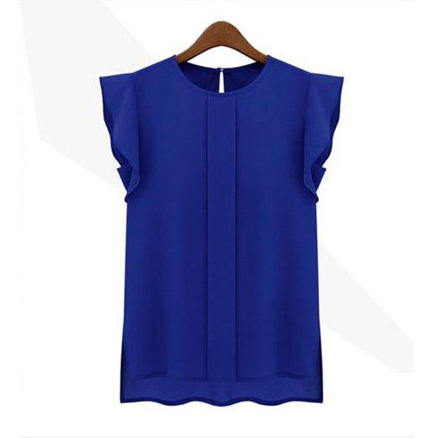 Mode frau blusen 2018 solide frauen tops und blusen Chiffon Shirts OL Dame Runde Kragen Ärmellose Rüschen Tops Plus Größe