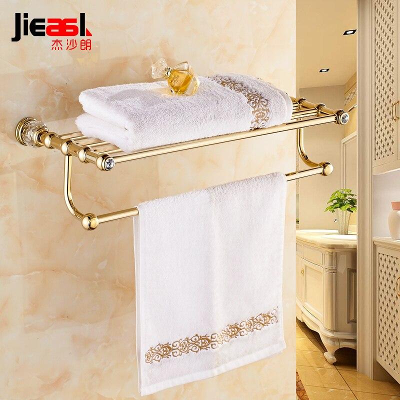 Jieshalang brass bathroom towel rack double crystal towel - Bathroom accessories towel racks ...