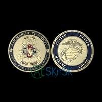 Commercio all'ingrosso 50/100 pz/lotto Stati Uniti placcato Oro Marine Corps ° Reggimento Marine Sfida Coin Esercito USMC Monete