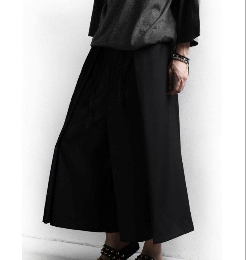 Autumn New Gothic Dark Men's Skirt Trousers Wide Leg Loose Pants Streetwear Men Clothes 2018 Hip Hop Pants Men Windbreaker Pants