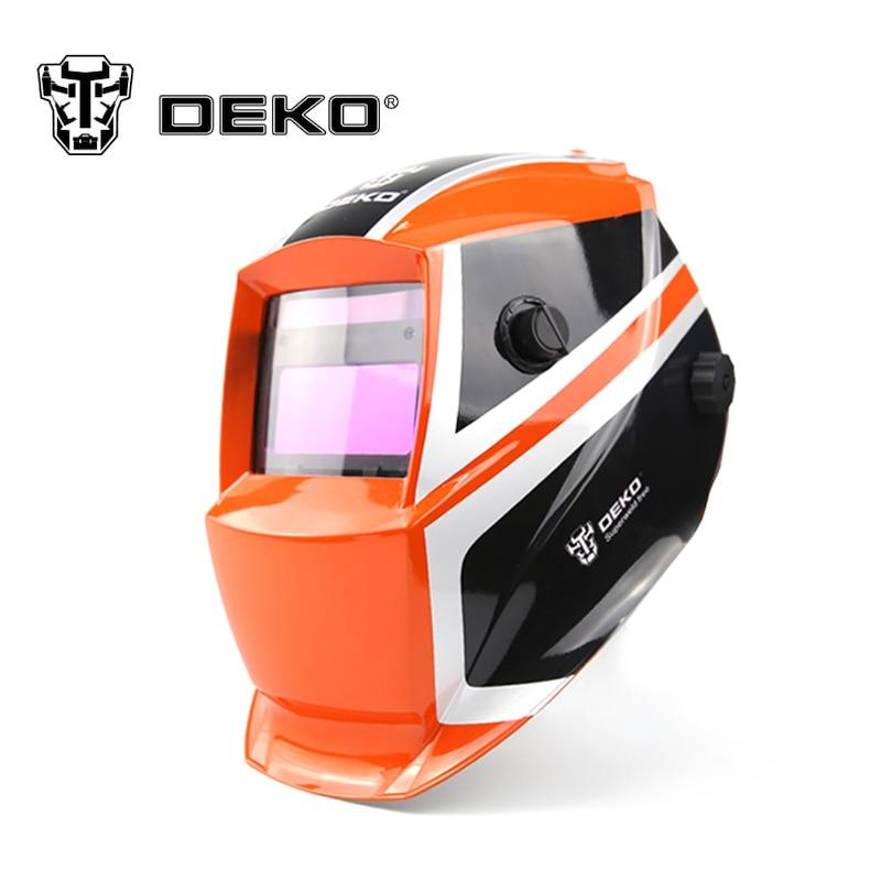 все цены на DEKOPRO Orange Mega Solar Auto Darkening MIG MMA Electric Welding Mask/Helmet/Welding Lens for Welding Machine or Plasma Cutter онлайн