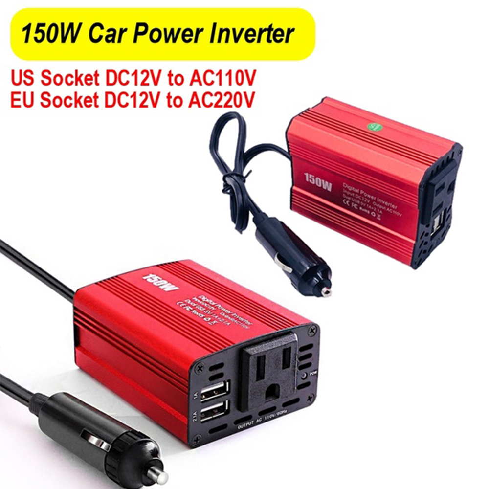 150W Watt DC 12VTo AC 110V/220V Portable Car Power Inverter Charger Converter Adapter Dual 2.1A USB Car Charger Adapter
