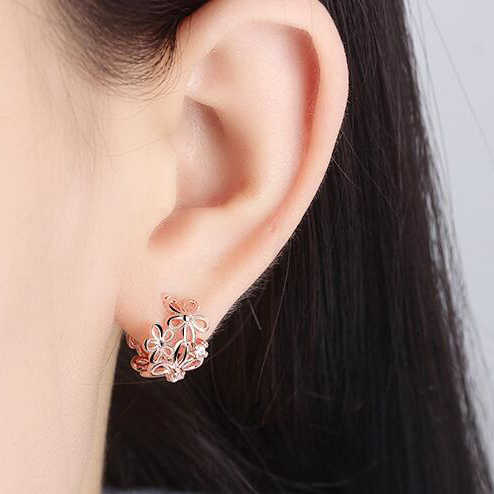 Vintage 925 Sterling Silver Rose Emas Manset Telinga Punk Anting-Anting Klip Kecil Bunga Hollow Pesona Brincos Terbaik Dijual Perhiasan untuk wanita