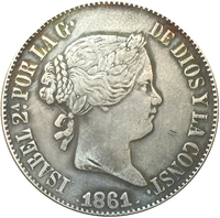 1861 Spain 10 reales COIN COPY FREE SHIPPING