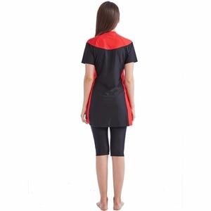 Image 5 - new 2018 new  summer stitching style of the Muslim swimsuit short sleeved islamic swimsuit islamic clothing