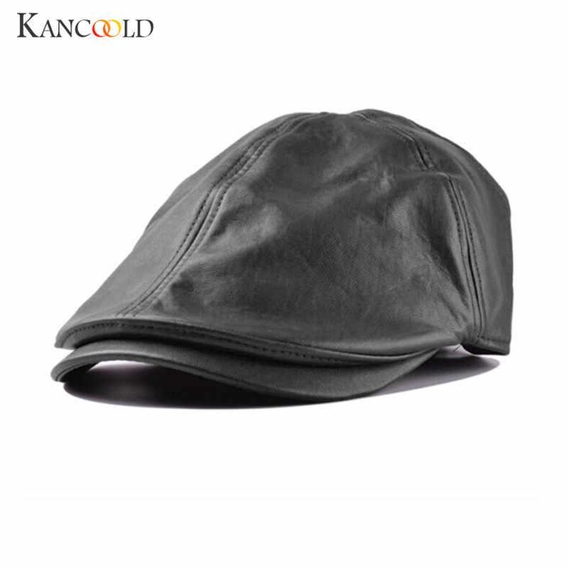bebc75022 Cap cap men solid beret Casual leather berets hat casquettes beret homme  for women male visor Vintage Newsboy Peaked hats DC28B