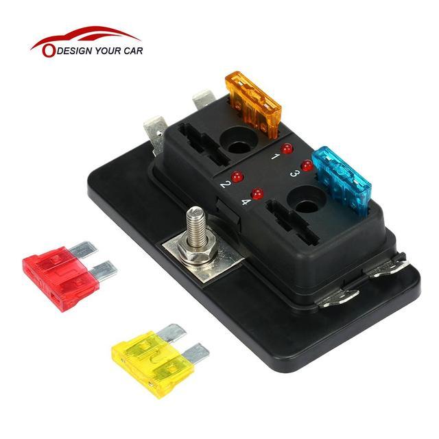 4 Way Blade Fuse Box Holder with LED Warning Light Kit for Car Boat