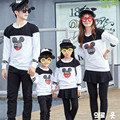 2016 Spring Autumn New Family Matching Outfits Hoodies Micky Head Long-Sleeve Cotton Sweatshirt Mother Baby Matching Clothes