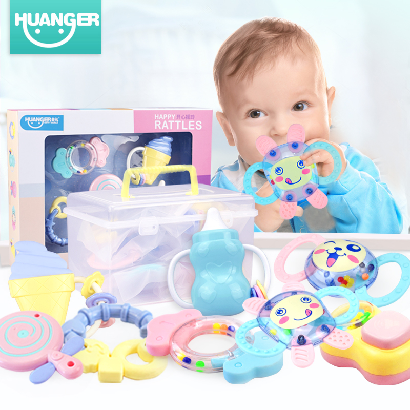 Huanger Baby Rattles 2 in 1 Baby Teethers Ring Hand Shake Mobile Bell Infant Training Tooth Toys Toddler Kid Rattle 5/6pcs Toys