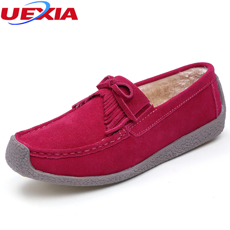 UEXIA Winter Cow Suede Tassels Loafers Fur Inside Warm Gommini Women Shoes Soft Flats Female Shoes Womens Footwear Round Toe vesonal brand faux fur women shoes flats 2017 winter warm velvet female fashion ladies woman sneakers casual footwear tsj 189