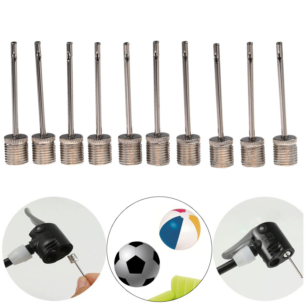 10 Pcs/Set Sports Ball Inflating Pump Needles For Football Basketball Soccer Inflatable Air Valve Adaptor Metal Pump Pin
