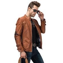 Hommes de 100% Véritable Veste En Cuir Broderie Moto Veste Slim Fit Réel Chèvre Rider Survêtement Court Casual Veste TJ07
