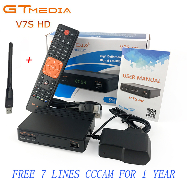 Freesat V7 HD upgrade to GTMEDIA V7S HD Satellite Receiver With Usb WiFi Spport DVB-S2 PowerVu Gtmedia V7S 1 Year Europe Cccam