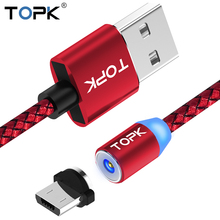TOPK LED Indicator Magnetic USB Cable,Upgraded Nylon Braided Magnet Micro usb Charging Cable for Micro USB Ports and Connectors