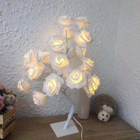 24 led rosa rosa flor lampada de