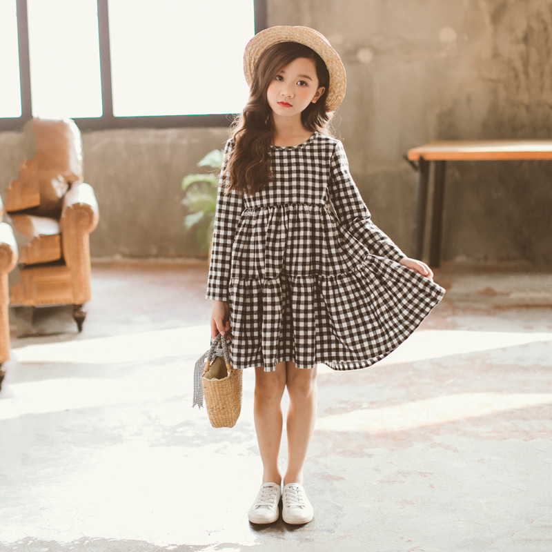 Image 4 - Brand 2019 Autumn New Girls Dresses Children Cotton Dress Kids Plaid Dress Bow Baby Girls' Cotton Dress Toddler Clothes,#2787-in Dresses from Mother & Kids