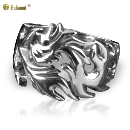 Bahamut 925 Silver Jewelry Burning Fire Dragon Ring